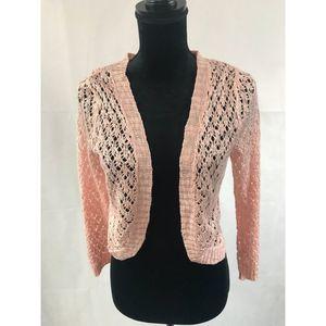 Cloud Chaser Pink Knit Shrug M
